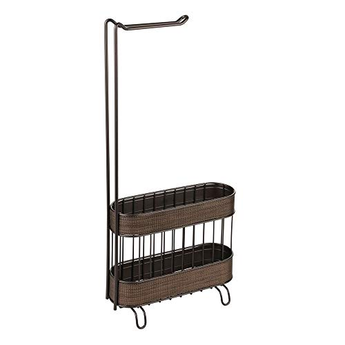 iDesign Twillo Free Standing Metal Toilet Paper Holder and Magazine Rack for Master, Guest, Kids