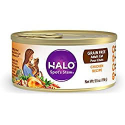 Halo Grain Free Natural Wet Cat Food, Chicken Recipe, 5.5-Ounce Can (Pack Of 12)