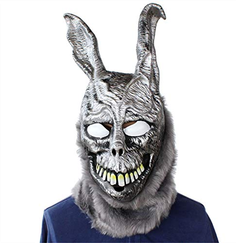 Donnie Darko Frank the Bunny Mask Latex Overhead with Fur Scary Animal Rabbit Mask.Free -