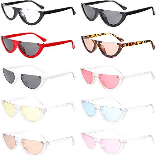 10 Pieces Cateye Half Frame Kurt Cobain Sunglasses Half Frame Sunglasses for Women - Piece Frames 10
