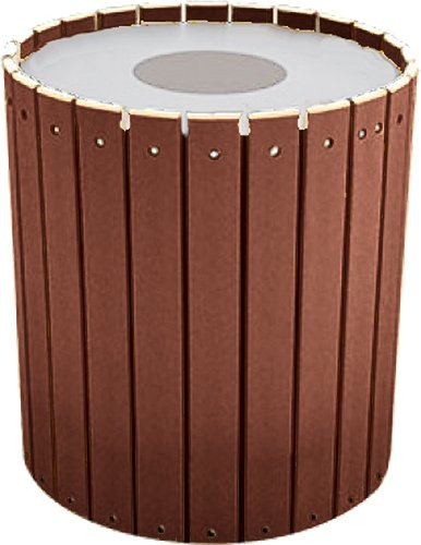 - Kay Park Recreation 132LRRPP-BRW 32 gal Trash Receptacle with Slats, Free Standing, Recycled Plastic, Brown