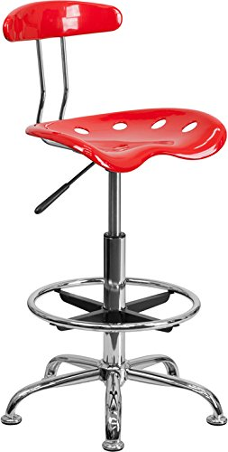 Vibrant Red & Chrome Drafting Stool with Tractor Seat - Shop Stool, Salon Stool
