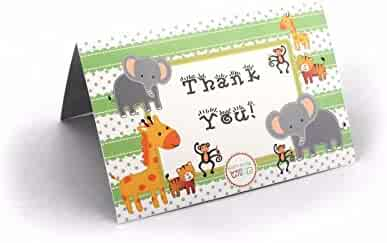 Ifavor123 Jungle Safari Animal Theme Baby Shower Cards – 24 Pack (Thank You Cards)