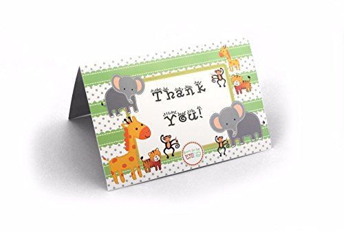 Ifavor123 Jungle Safari Animal Theme Baby Shower Cards – 24 Pack (Thank You -