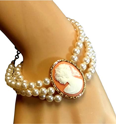 Cameo Stretch Bra - Adjustable Length Fashion Cameo Bracelet for Women 3 Row Faux Pearl Beaded 925 Gold Vermeil Classic