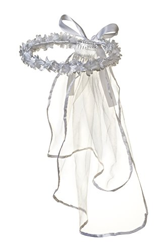 Girls First Communion White Flower Blossom Tulle Veil Headpiece with Bow ()