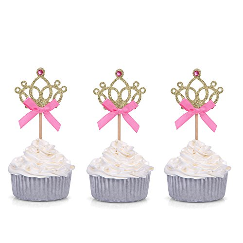 Giuffi Set of 24 Golden Tiara Cupcake Toppers Kids' Party Picks -