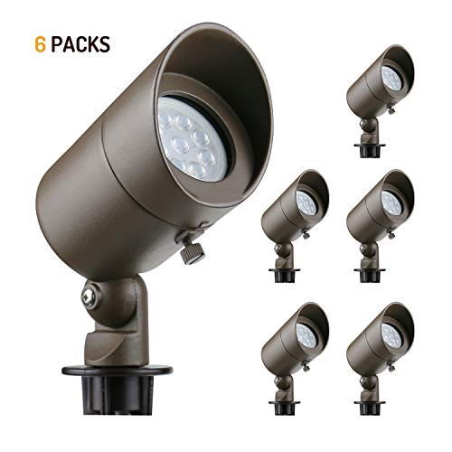 Lumina Low Voltage Landscape Lights Cast-Aluminum Waterproof Outdoor Spotlights for Walls Trees Flags Decorative Light with Warm White 4W MR16 LED Bulb and ABS Ground Stake Bronze SFL0101-BZLED6 (6PK)