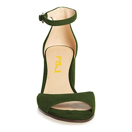 Elegant Chunky Pumps Women US Strap FSJ Heels Comfort Peep Sandals Ankle Shoes 13 Size 6 Toe Low Olive g5wYqU