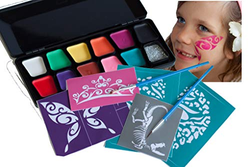 Face Paint Kit, Face Paint Kit With Stencils, Face Painting Kit - Face Painting Kit With Stencils By Willow The Pixie Creations - Non Toxic, 11 Vibrant Colours, Glitter, Hypo Allergenic, Paraben Free,]()