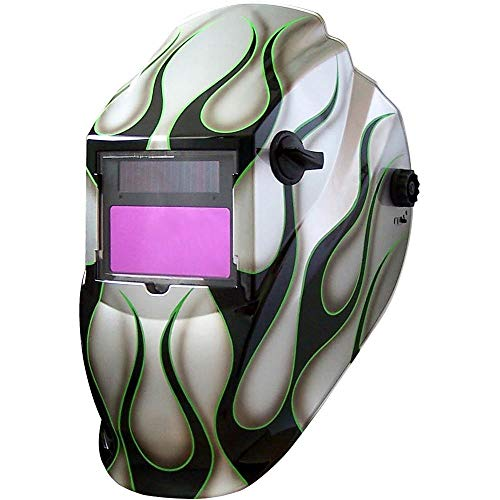 Metal Man ASF8700SG 9-13 Variable Shade Professional Auto-Darkening Welding Helmet, Silver Flame Pattern