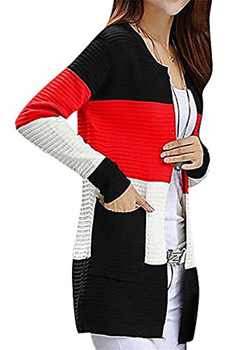 Maze, Women's Panelled Pocketed Long Sleeve Crew Neck Ribbed Midi Cardigan, Red One Size