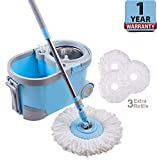 ALLZONE Spin Mop Bucket with Wringer On Wheels, Hardwood Floor Cleaning System, with 3 Microfiber Mop Refills, Blue