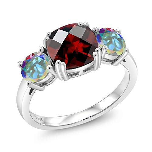 Gem Stone King 2.40 Ct Cushion Checkerboard Red Garnet Mercury Mist Mystic Topaz 925 Silver Meghan Ring (Size ()