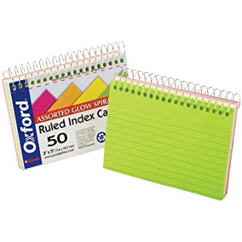 """Oxford Spiral Bound Glow Index Cards, 3"""" x 5"""", Ruled, Assorted Bright Colors, 50 Cards per Book (40281)"""