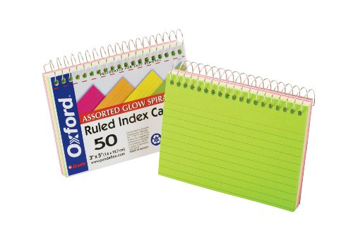 "Oxford Spiral Bound Glow Index Cards, 3"" x 5"", Ruled, Assorted Bright Colors, 50 Cards per Book (40281)"