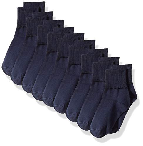 (Amazon Essentials Girls' 9-Pack Cotton Uniform Turn Cuff Sock, Navy, 8 to 11)