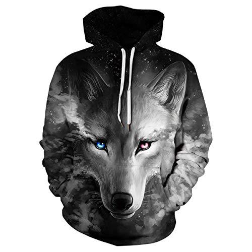 Venkine Unisex 3D Digital Druck Graphic Kapuzenpullover langärmelig Drawstring Pullover Sweatshirt mit Tasche
