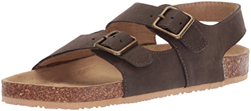 The Children's Place Boys' BB DBL Bckl Scou Flat Sandal, Brown, Youth 4 Medium US Infant