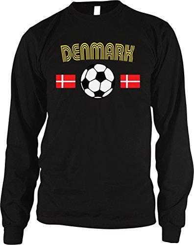 Denmark Soccer / Football and Flag Men's Long Sleeve Thermal Shirt, Amdesco, Black Large (Soccer Neck Thermal)