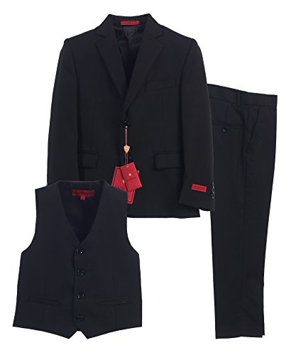 Gioberti Boy's Formal 3 Piece Suit Set, Black, Size 14