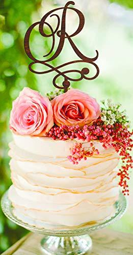 (Letter R Cake Topper gold monogram cake topper R Wedding Cake Topper Rustik Cake Topper Custom Cake Topper silver Initials Cake Topper R)