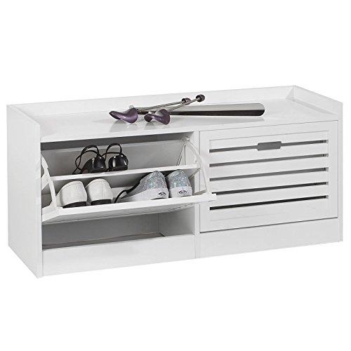 Schuhbank Schuhschrank UDINE, in weiß, mit 2 Klapptüren mit Schuhfach in Doppelreihe