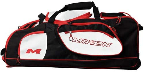 MikenスポーツChampionship mkbg18-ch-bwr Holds 5 BatsフェンスフックWheeled Bag