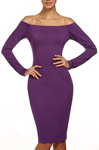 ANGVNS Women's Backless Off Shoulder Long Sleeve Stretch Bodycon Slim Dress Purple M