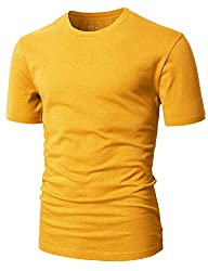 H2h Mens Basic Fashion Crew-neck T-sihrt Mustard Us Lasia Xl (Cmtts0198)