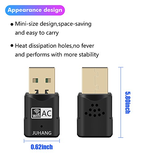 JUHANG AC 600M Wireless USB adapter Dual Band (2.4G/150Mbps+5.8G/433Mbps), Wireless USB Dongle Antenna Network Adapter Works with Any WiFi Routers, The Unique Design Brings free Wireless Digital Life by JUHANG (Image #2)