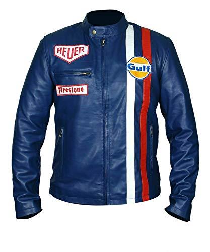 Streamline choice Mens Steve McQueen Leman Driver Grandprix Gulf Leather Jacket - Blue - Medium