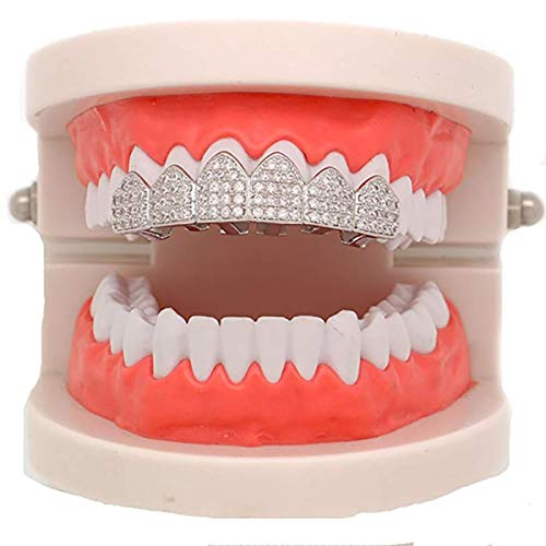 18K White Gold Plated CZ Cluster Custom Slugs Top Bottom Grillz Mouth Teeth Grills Set - Grillz, Teeth Cap, Iced Out Grillz (Top) ()