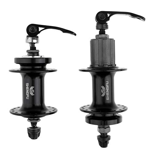 Toygogo 1 Pair Bike Cycling Wheel Hub Skewers Quick Release Front&Rear Hubs - Black, 36 Holes