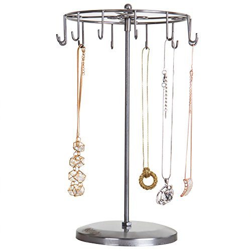 MyGift 14-Inch Metal Carousel Jewelry Tower with 12 Necklace & Bracelet Hooks, Silver -