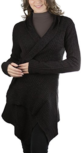 ToBeInStyle Women's L.S. Fold Over Collar Open Cardigan - Chocolate - Large