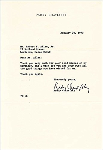 Paddy Chayefsky – Typed Letter Signed 01/30/1975