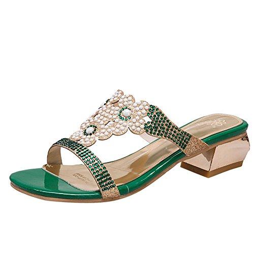 Mee Shoes Women's Charm Faux Pearl Block Heel Sandals Green PmePRJwNsk