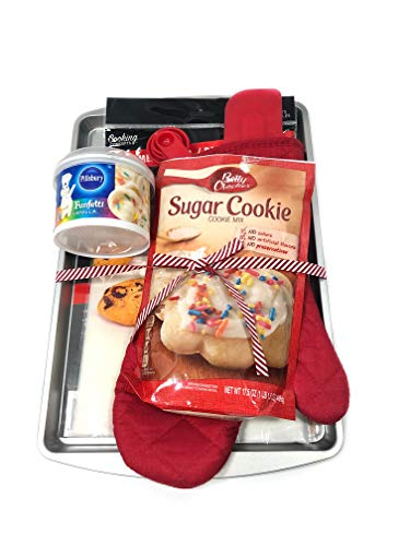 Funfetti Sugar Cookie 7 Piece Baking Bundle Easy To Bake Christmas Cookie Set! Betty Crocker Sugar Mix, Cookie Sheet, Oven Mitt, Measuring Spoons, Spatula, Parchment Paper, Vanilla Funfetti Frosting - Measure Oven