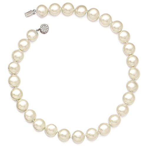 925 Sterling Silver 14-15mm Coin White Simulated-pearl w/CZ Clasp Necklace 18