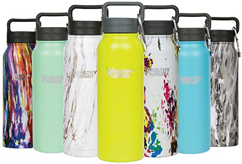 Healthy Human Insulated Stainless Steel Water Bottle Thermos - Ideal for Sports, Outdoors, Men, Women & Kids. Leak Proof. Cold 24 Hours - Mojito - 21 oz