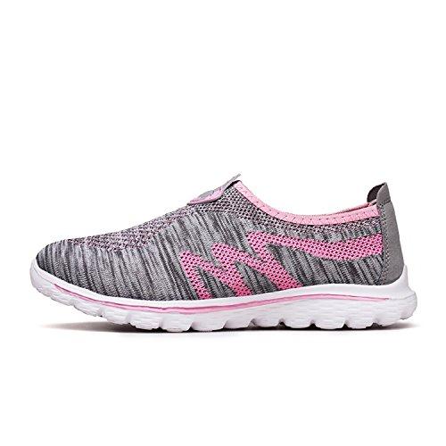de Zapatos Ligero Mastery Sneakers H Unisex de Cordones Verano Sin Deportivos Zapatillas Respirable Running para Grisrosa Deporte PEFPZwxIq