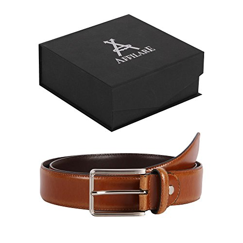 45-46 Affilare Men's Genuine Italian Leather Dress Belt 35mm Tan 12BS653TN from Affilare