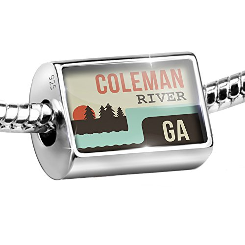 Coleman Sterling Silver Bracelet (Sterling Silver Bead USA Rivers Coleman River - Georgia Charm Fits All European Bracelets)