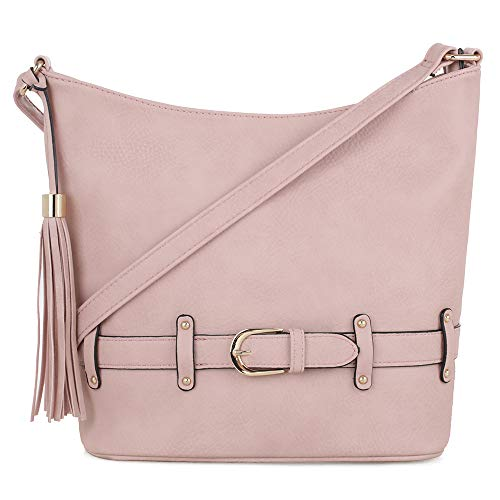 - DELUXITY | Crossbody Hobo Slouch Bucket Purse Bag | Functional Multi Pocket with Tassel and Belt | Adjustable Strap | Mauve