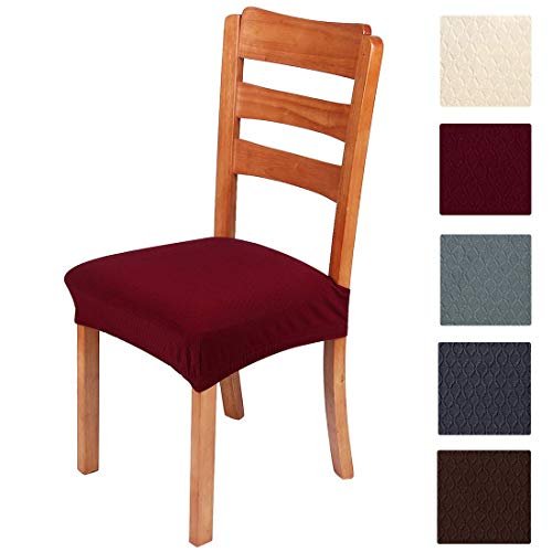 smiry Stretch Jacquard Chair Seat Covers for Dining Room, Removable Washable Anti-Dust Chair Seat Protector Slipcovers - Set of 4, Burgundy