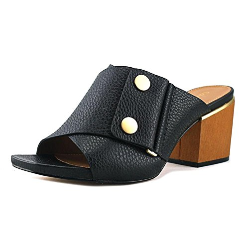 Calvin Klein Womens jolle Glazed Tumble Open Toe Clogs, Black, Size 7.0