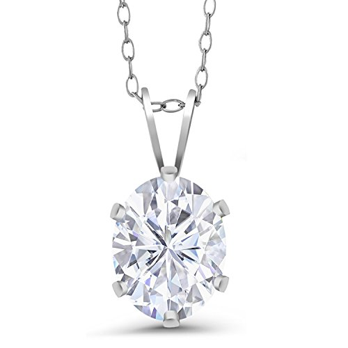 - 925 Sterling Silver Pendant Forever Classic Oval 1.50ct (DEW) Created Moissanite by Charles & Colvard