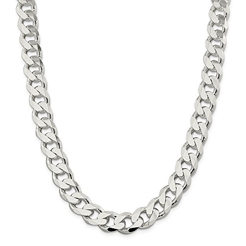 Diamond2Deal 925 Sterling Silver 13mm Curb Necklace Chain - Figaro Chain 13mm Yellow Gold