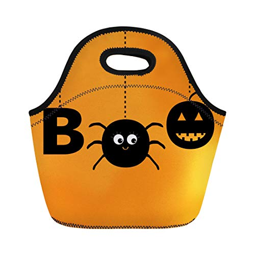 Semtomn Lunch Tote Bag Hanging Word Boo Text Smiling Sad Black Pumpkin Spider Reusable Neoprene Insulated Thermal Outdoor Picnic Lunchbox for Men Women -